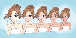Cartoon girls face whitening Stock Images