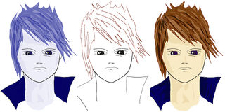 Cartoon girls faces. Illustration of boys faces Close up Stock Image
