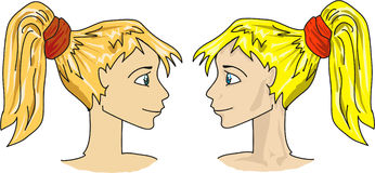 Cartoon girls faces. Illustration of two girls twins Close up Royalty Free Stock Photos