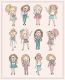 Cartoon girls. Fashion children set. Royalty Free Stock Images