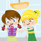 Cartoon girls with gift Stock Photography