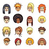 Cartoon girls hairstyles vector set Royalty Free Stock Images