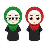 Cartoon girls with hijab Royalty Free Stock Photography