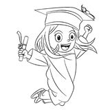 Cartoon girls jumping happily in the graduation ceremony. In flat color vector illustration