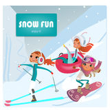 Cartoon girls makes winter sports. Cartoon cute girls makes winter sports vector illustration