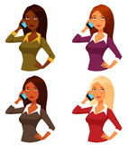 Cartoon girls with mobile phone Stock Photography