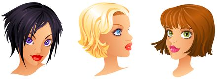 Cartoon Girls Portrait Royalty Free Stock Images