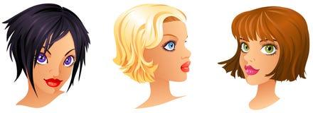 Cartoon Girls Portrait vector illustration