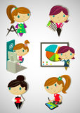 Cartoon girls. Set of 6 cute cartoon girls Royalty Free Stock Image