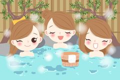 Girls with hot spring Stock Images