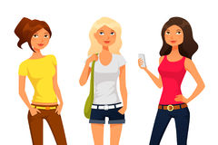 Cartoon girls in summer clothes Stock Images
