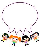 Cartoon girls with talk balloon Royalty Free Stock Photography