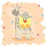 Cartoon Girrafe and chicken. Vector Illustration.T-shirt, baby shower, greeting card design Stock Photography