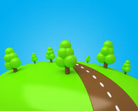 Cartoon glade with sweet trees and chocolate road. Against blue sky Royalty Free Stock Image