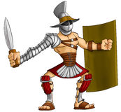 Cartoon gladiator. Gladiator ready to fight with his gladius and shield Royalty Free Stock Image