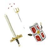 cartoon gladiator weapons Royalty Free Stock Photo