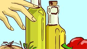 Cartoon Glass Bottles with Cooking Oil and Vegetables. Female hand touches Cooking Oil Glass Bottles. Colorful Vector Sketch. Clip Art Royalty Free Stock Image