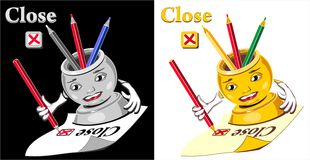 Cartoon  glass for pencil checking  close Stock Photo