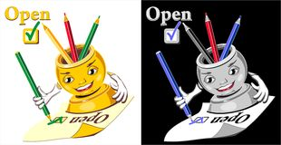 Cartoon  glass for pencil checking  open Royalty Free Stock Images