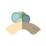Cartoon glasses sun lenses beach shadow Royalty Free Stock Photo