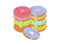 Cartoon glazed sweet donut isolated. Vector set. Colorful donut dessert with chocolate and sugar illustration. Sweets set. Vector illustration Royalty Free Stock Photography