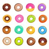 Cartoon glazed sweet donut isolated vector set. Donut dessert with chocolate and sugar illustration Royalty Free Stock Photo