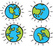 Cartoon Globe. Set of cartoon images of planet earth - different continents Stock Images