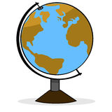 Cartoon globe. Cartoon illustration showing a school geography globe representing planet Earth Stock Photo