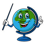 Cartoon globe character with pointer Royalty Free Stock Photography