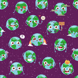 Cartoon globe with emotion web icons green global smile face happy nature character expression and ecology earth planet. World map seamless pattern vector Royalty Free Stock Photos