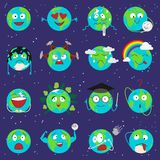 Cartoon globe earth emotion face character expression planet world vector illustration. Royalty Free Stock Photos