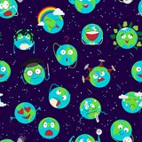 Cartoon globe earth emotion face character expression planet world vector illustration seamless pattern background Royalty Free Stock Photos