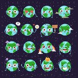 Cartoon globe with emotion web icons green global smile happy nature character expression and ecology earth planet world. Blue map vector illustration. Funny Royalty Free Stock Photos