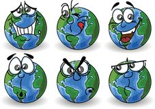 Cartoon Globe with emotions,vector Stock Image