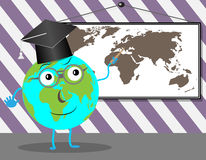 Cartoon Globe teaches geography Royalty Free Stock Images