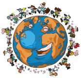 Cartoon Globe-trotters. Cartoon illustration of the Earth with Globe-trotters Stock Photos