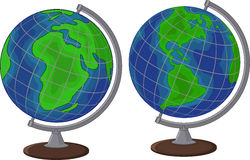 Cartoon globe two side Stock Images
