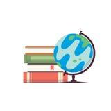 Cartoon globe vector illustration. World map on globe with books isolayed on white backgound. Eps10 Stock Images