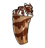 Cartoon glossy chocolate milkshake Stock Image