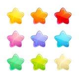 Cartoon glossy colorful stars set. Stock Photo
