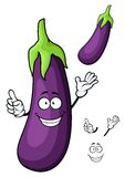 Cartoon glossy violet eggplant vegetable character Royalty Free Stock Images