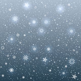 Cartoon glowing snowflakes light. The snow falls and cartoon sky dark background. Winter snowflake. Christmas and New Year eve Royalty Free Stock Photography
