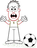 Cartoon Goalkeeper Angry Royalty Free Stock Image