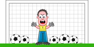 Cartoon Goalkeeper Angry Stock Images