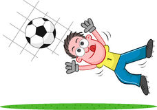 Cartoon Goalkeeper Catching Ball Royalty Free Stock Image
