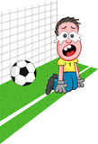 Cartoon Goalkeeper Crying Stock Photos