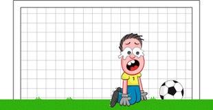 Cartoon Goalkeeper Crying Stock Photo