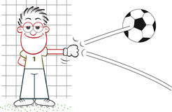 Cartoon Goalkeeper Deflecting Ball Royalty Free Stock Photos