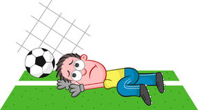 Cartoon Goalkeeper Failing and Unhappy Stock Photo