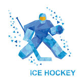 Cartoon goalkeeper with hockey stick catches the puck Royalty Free Stock Image